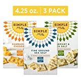 Simple Mills Almond Flour Cracker Variety Pack:, (1) Fine Ground Sea Salt, (1) Farmhouse Cheddar,...