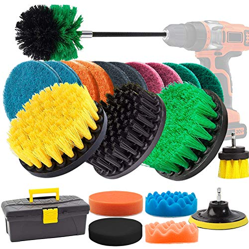 GOH DODD Drill Brush, 22 Pieces Power Scrubber with Scrub Pads, Polishing Pads and Long Reach Attachment in Box for Bathroom Shower Scrubbing, Carpet Cleaning, Grout Scrubbing, and Tile Cleaning