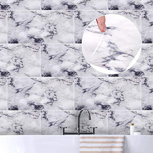 ENCOFT 6 Piezas Adhesivo para Azulejos Rectangular, Pegatinas de Azulejos Autoadhesivo Azulejo en PVC, Pegatinas de Baldosas Impermeable para Cocina Baño, Mármol Blanco Gris 60x30cm