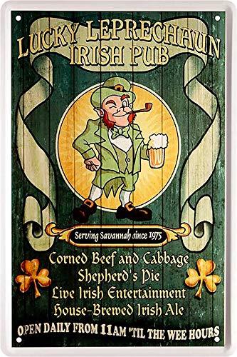 """Blechschilder Bier lustiger Spruch: """"Lucky Leprechaun Irish Pub"""" Deko Schild Bar-Schild Theke 20x30 cm"""
