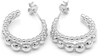 Dielay dames oorbellen met ballen 925 sterling zilver Ø ring 15 mm