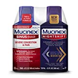 Mucinex Maximum Strength Sinus-Max Severe Congestion & Pain & Nightshift Sinus Liquid, 6 Fl Oz (Pack of 2)