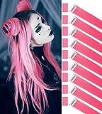 Rhyme 9 PCS 21 'Extensiones de cabello de color liso Clip In / On Extensiones de cabello morado Peluca Party Highlight MultiColors Piezas de cabello para mujeres / niñas (rosado)