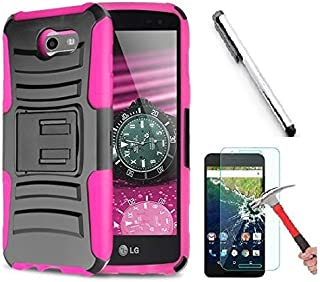 Luckiefind Compatible Samsung Galaxy J3 Emerge/J3 Prime/Amp Prime 2/Express Prime 2/Sol 2/J3 Mission/J3 Luna Pro/J3 Eclipse, Dual Layer Side Kickstand Cover Case with Holster Clip (Holster Pink)