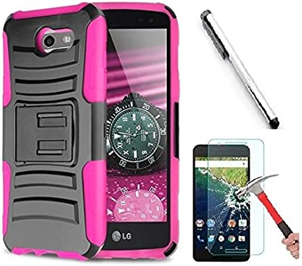 Luckiefind Compatible Samsung Galaxy J3 Emerge/J3 Prime/Amp Prime 2/Express Prime 2/Sol 2/J3 Mission/J3 Luna Pro/J3 Eclipse, Dual Layer Side Kickstand Cover Case with Holster Clip (Holster Pink)
