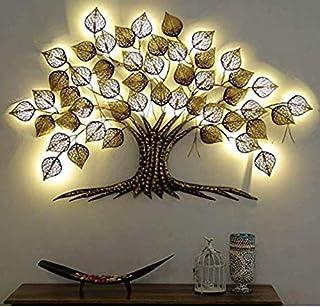 Mahalaxmi Art Handcrafted Iron Wall Hanging Big LED Gold Tree for Home Living Room Wall