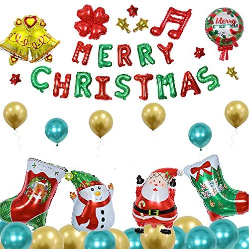 Akface 48PCS kit de globos de Navidad, papel de aluminio y globos de ltex, para la fiesta de Navidad, el carnaval y la decoracin de disfraces.