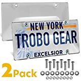 Trobo License Plate Covers, Unbreakable Tag Cover to Protect Your Car Front and Rear Plates, 2 Pack Tinted Bubble Design Novelty License Plate Shield, Fits All Standard US Plates, Screws Included