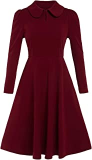 Women's Petite Vintage 1950s Retro Collared Long Sleeve Fit and Flare Swing Party Dress