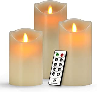 """Best Flameless Candles , Battery Candles Set of 3(H 5""""6""""7""""x D3"""") Battery Operated Candles Real Wax Pillar with Remote Timer by Comenzar (Ivory ) Review"""