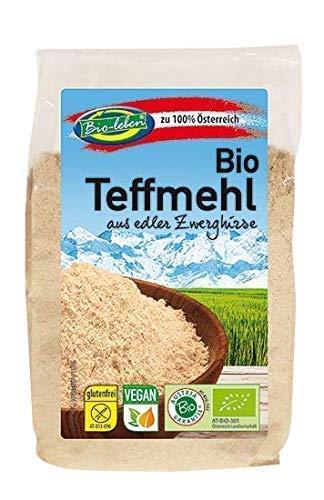 Bio-leben österreichisches Bio Teffmehl glutenfrei 1,8kg gentechnikfrei, Zwerghirse Mehl, Hirsemehl aus rohem ungeschältem Teff, extra gereinigt und stechapfelfrei, aus Österreich 6x300g