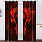 World of Warcraft Curtains Blackout Curtains with Game Pattern Fan Curtains Thermal Insulated Drapes for Bedroom and Sliding Glass Door 62 x 70 Inch Grey 2 Panels