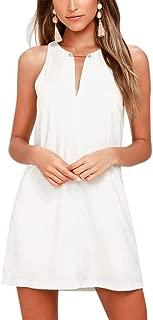 Women's Casual Sleeveless V Neck Straight Shift Dress
