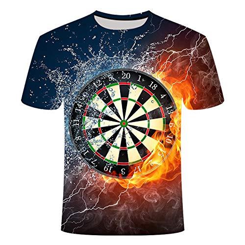 ZIXIYAWEI 3D Camisetas para Hombre,Patrón De Dardos De Fuego De Agua Unisex 3D Impreso Camiseta Verano Personalizado Casual Camisetas De Manga Corta Tops-M