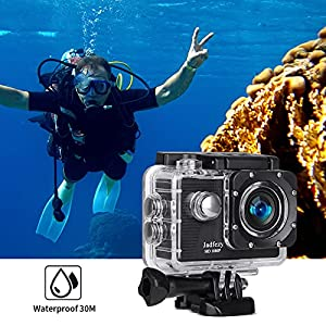 Jadfezy Cámara Deportiva HD 1080P, Cámara subacuática 30M con 140 grados gran angular, Cámara de acción 2 baterías recargables de 900mAh y kit de accesorios