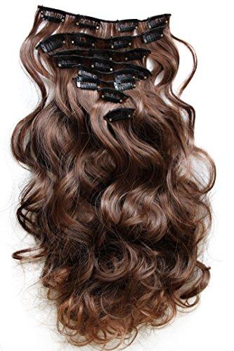 PRETTYSHOP XXL 45cm 8 Teile Set CLIP IN EXTENSIONS Haarverlängerung Haarteil Voluminös Gewellt Braun Mix CES12-1