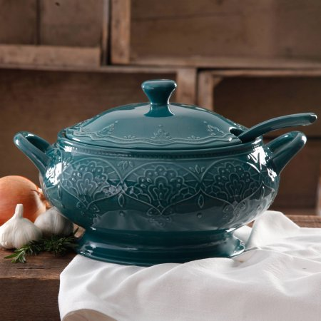 The Pioneer Woman Farmhouse Lace Tureen with Lid and Ladle - Ocean Teal