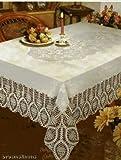 New Crochet Vinyl Lace Tablecloth, 60' wide X 90' long Oblong, Bone Beige