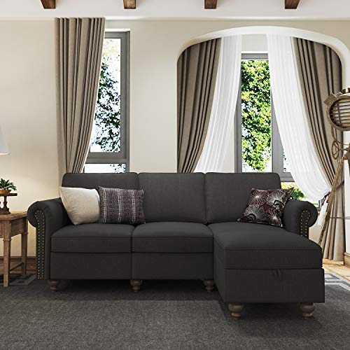 Belffin Fabric 3 Seater Sofa Couch with Storage Ottoman L Shaped Sofa with Chaise for Living Room Dark Grey