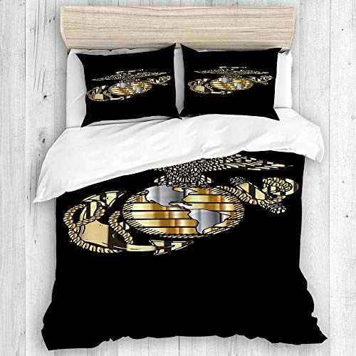 AXEDENRRT Design Comforter Cover Sets King 3 Pieces Single School Dormitory (1 Duvet Cover + 2 Pillow Shams) Marine Corps Bed Cover Set