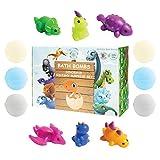 Kids Animals Dinosaur Squishy Surprise Inside Super Fun Gift Set Fizzies Bubble Bath, Kid Safe, Natural and Organic Essential Oils, 6x5oz XL Bathbombs USA Handmade with 100% Love