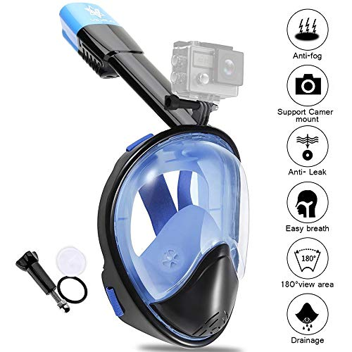 V VILISUN Tauchmaske, Vollmaske Schnorchelmaske Vollgesichtsmaske mit 180° Sichtfeld, müheloses Atmen, Dichtung aus Silikon Anti-Fog und Anti-Leck Technologie für Alle Erwachsene