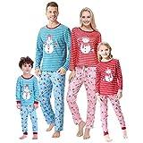 HONG HUI Matching Christmas Family Pajamas Set Holiday Santa Claus 2Pcs PJS Set