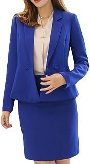 Mogogo Women's Solid Work Blazer Lapel Highwaist Slim Jacket Skirt Suit Set