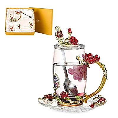 Lustrique Rosaria Tea Cup Set Lead-free Glass & Enamels Tea Cup, Coffee Mug Butterfly Flower Tea Cup Gift for Women Birthday Valentines Day Wedding (Tall Tea Cup+Spoon +Cover Lid+Saucer) Red