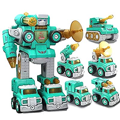 Lehoo Castle Transformers Robot Toys, 6 in 1 STEM Take Apart Truck Toys Combine into Peace Defender Robot, Educational Truck to Robot Construction Building Toys, Gift Toy for Kids Aged 3+