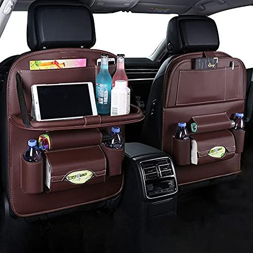 BE-STRONG Bolsa De Almacenamiento para El Respaldo del Asiento De Carro, Bolsa De Almacenamiento para Carro De Mesa De Paleta Plegable, Bolsa Cuero PU con Soporte para Tableta,Marrón