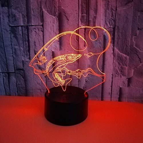 Yujzpl 3D-illusielamp Led-nachtlampje, USB-aangedreven 7 kleuren Knipperende aanraakschakelaar Slaapkamer Decoratie Verlichting voor kinderen Kerstcadeau-Visspel