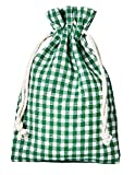 10 bolsitas de algodón, bolsas de algodón estilo rústico, tamaño 30 x 20 cm, elemento decorativo, decoración romántica, a cuadros, verde-blanco
