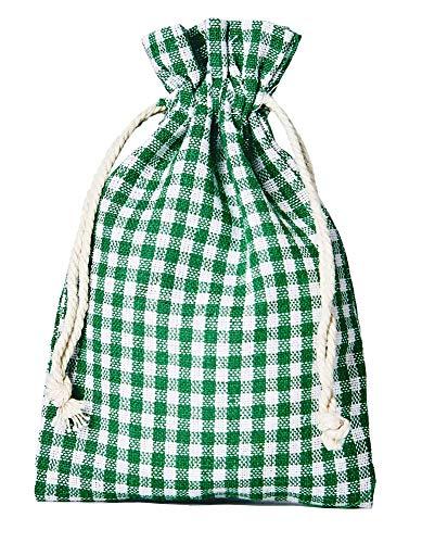 10 sacchettini in cotone, sacchetti di cotone in stile-rurale, misura 30x20cm, confezione regalo, decorazioni da tavola, decorazione tenuta di campagna, a quadretti (bianco-verde)