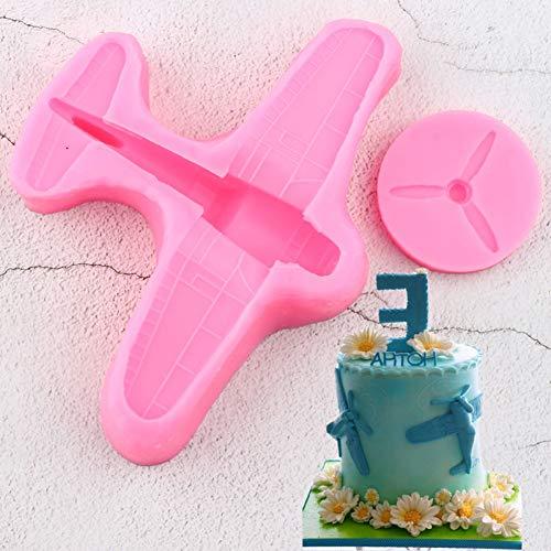 UNIYA Moldes de Silicona para Aviones 3D, Borde de Pastel, Fondant, BricolajeBirthday Cake Decorating Tools Candy Clay ChocolateMould