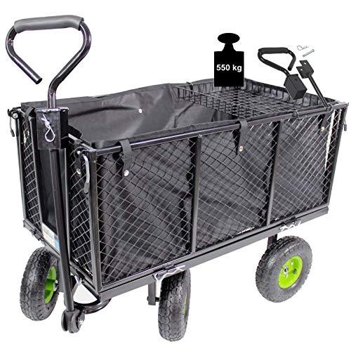 TRUTZHOLM® Bollerwagen Handwagen Gitterwagen Gartenwagen Transportwagen 550 kg Lenkachse | mit Rasentraktorkupplung an der Deichsel oder Handgriff gepolstert