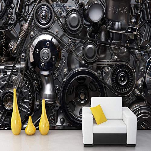 XLXBH 3D-behang, zelfklevend wandschilderij, fotobehang, industriële machines, metalen aandrijving, 3D-schilderij, lounge café, bar, cv, slaapkamer, woonkamer, hotel, behang, muurschildering, kinderkamer, kantoor, eetkamer, woonkamer 200x140 cm (BxH) 4 Streifen - selbstklebend