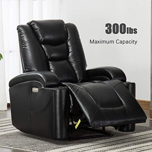ANJ Electric Power Recliner Chair for Living Room, Breathable Bonded Leather, Classic and Traditional Single Sofa Seat, Home Theater Seating with Cup Holders and USB Port-D6487, Black