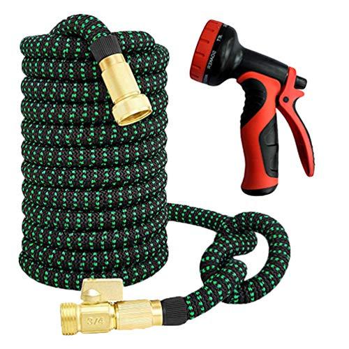 Dooxii Autowaschanlage Wasserpistole Teleskopschlauch Flexibler Wasserschlauch Magic Stretch Gartenschlauch (Rot#2, 15m)