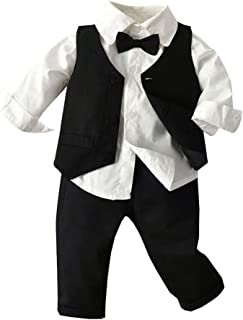 3pcs Baby Boy Gentleman Suits, Classic Long Sleeves Bow Tie Shirt & Vest Coat & Long Pants Toddler Tuxedo Outfits Set 0-4Y