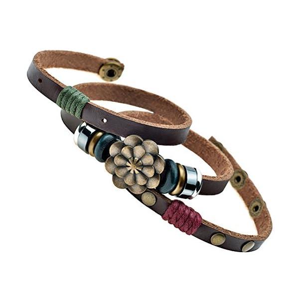 MultilayerbLotus Flower Snap Button Wrap Bracelet 1