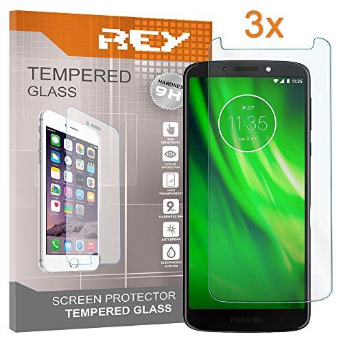 REY Pack 3X Panzerglas Schutzfolie für Motorola Moto G6 Play, Displayschutzfolie 9H+ Härte, Anti-Kratzen, Anti-Öl, Anti-Bläschen