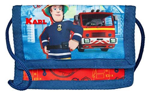 Geldbeutel mit Namen | personalisiert & Bedruckt | Motiv Feuerwehrmann Sam | Geldbörse Kindergeldbeutel zum umhängen blau & rot | inkl. NAMENSDRUCK