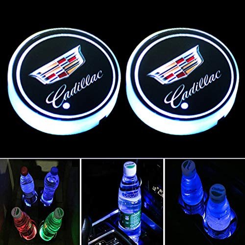 DIYcarhome - Juego de 2 luces LED para coche Cadillac, con 7 colores que cambian la alfombrilla de carga USB, almohadilla luminiscente para decoración de lámpara de ambiente interior