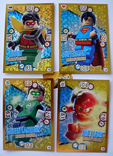 Blue Ocean Lego Batman Serie 1 - 4 Limitierte Gold Karten Trading Card LE 2 Robin LE 3 Superman LE 5 Green Lantern LE 6 The Flash + 1 Schutzhülle + 1 Gold Sticker