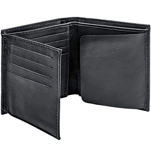 Winchester Police Badge Wallet Bifold RFID Full Grain Genuine Leather, Fits Any Shape Badge with a Pin Back, Black, Law Enforcement Officer Gifts