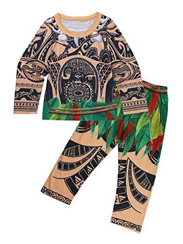 MSemis Unisex Pijamas de Maui para Bebés Niñas Niños Disfraz Moanas Vaianas Niñas Estampado Tribus Figura Aventura del Mar Ropa de Dormir Regalos Manga Larga 2-3Años