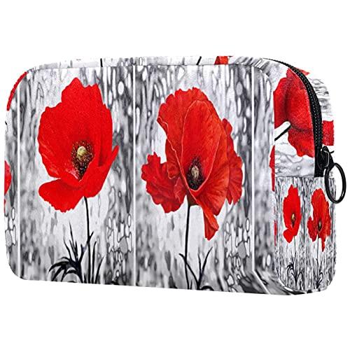 Bolsa de Maquillaje compacta Bolsas de cosméticos de Viaje portátiles para Mujeres niñas Neceser,Pintura al óleo Vintage Amapola roja