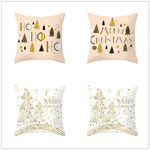 QPY Throw Pillow Case Cushion Covers Christmas Cotton Linen Decorative Square Pillowcases for Sofa Bedroom with Lnvisible Zipper Car Home Decor Set of 4 Pillowcase 40x40cm(16x16inch) A499