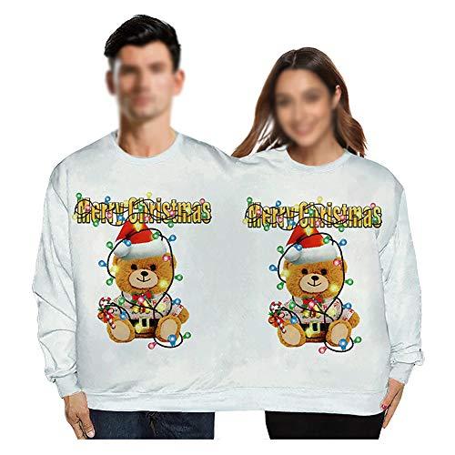 Kerst Trui, Twee Mensen Lelijke Kerst Trui, Spoof Koppels Trui Mode Nieuwigheid Verbonden Tweelingen Truien Top Ronde hals Dubbele Trui Galaxy Blouse Shirt voor Mannen Vrouwen, Wit, S